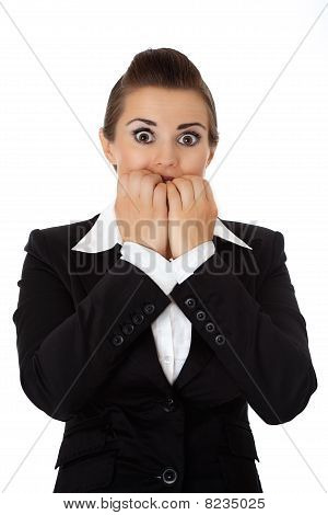 scared business woman