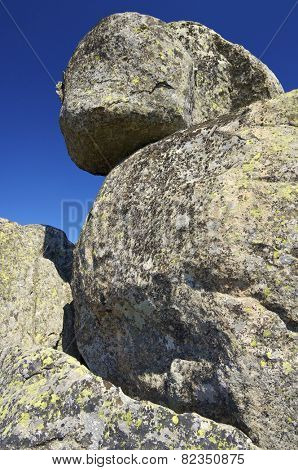 Rock formation in Pico de La Miel, La Cabrera, Madrid, Spain