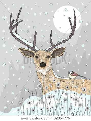 Cute Reindeer And Bird Christmas Night Background.