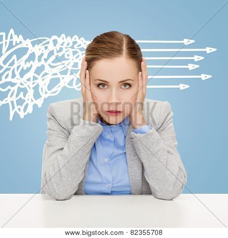 business, education, emotional pressure and people concept - stressed businesswoman or student covering her ears with hands over blue background with messy and straight arrows