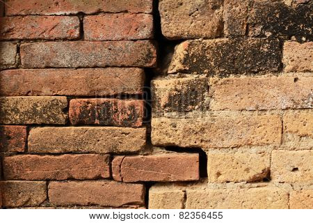Old weathered brick wall fragment