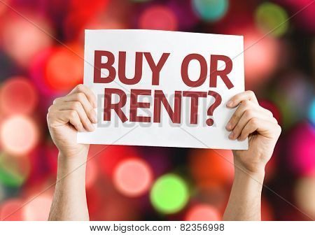 Buy or Rent? card with colorful background with defocused lights