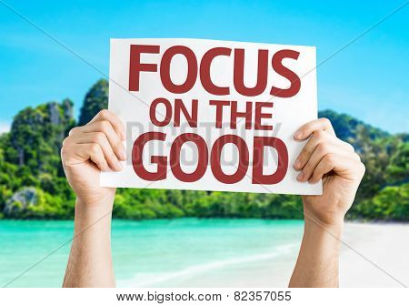 Focus on the Good card with a beach background