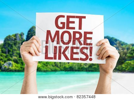 Get More Likes card with beach background