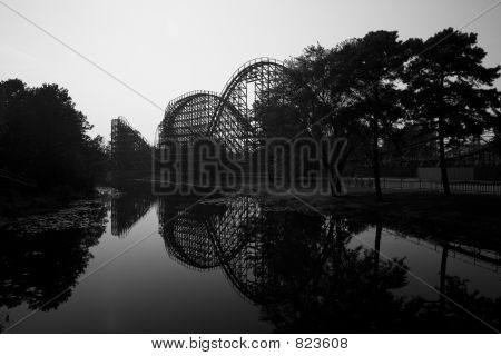 Wooden rollercoaster - reflection horizontal
