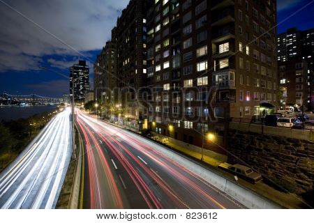 Night shot of FDR highway New York City