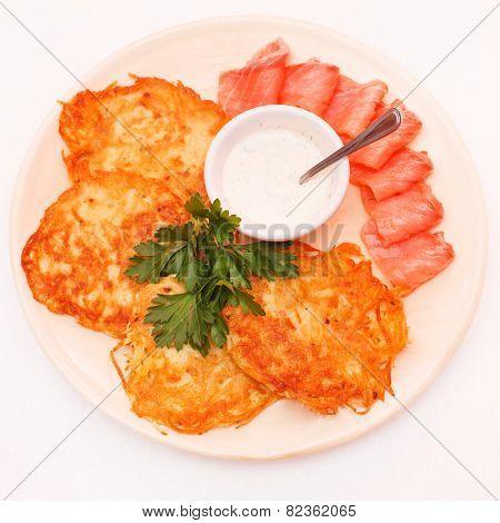 potato pancake with salmon