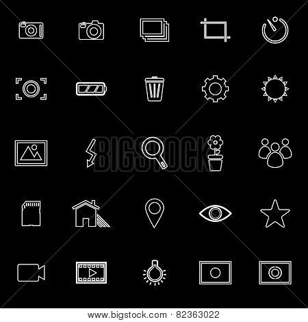 Photography Line Icons On Black Background