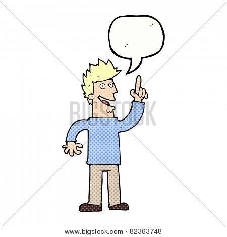 cartoon man with great new idea with speech bubble