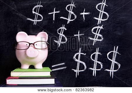 Piggy Bank With Blackboard Formula