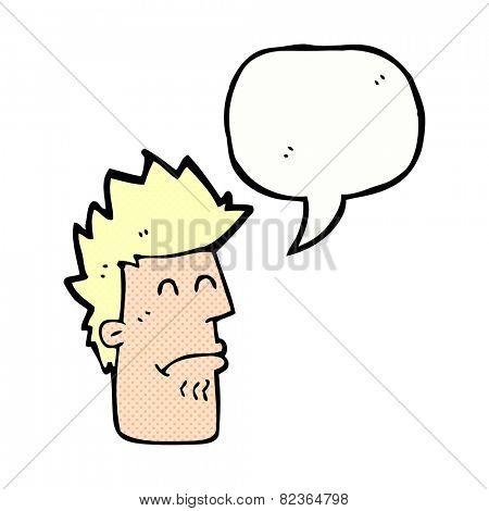 cartoon man feeling sick with speech bubble