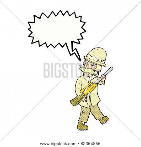 cartoon big game hunter with speech bubble