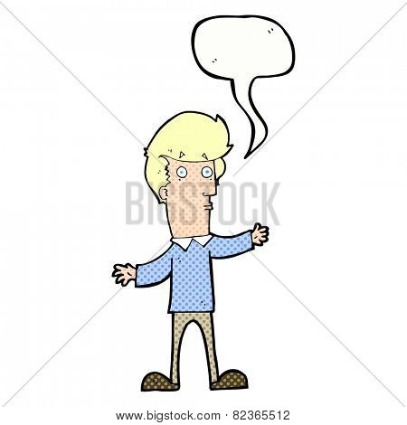 cartoon startled man with speech bubble
