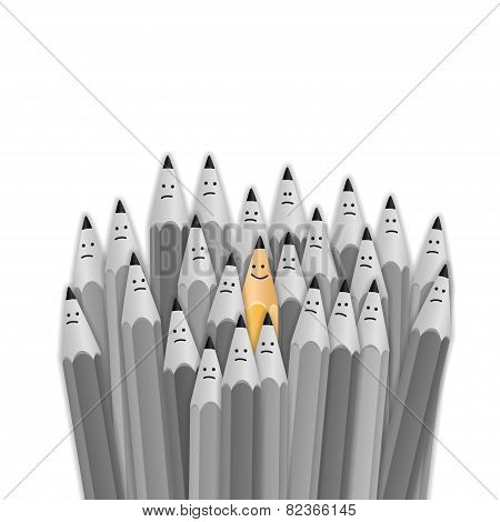 One bright color smiling pencil among bunch of gray sad pencils. vector illustration