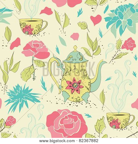 Tea party seamless pattern