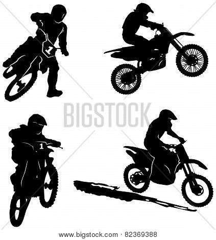 Set of silhouettes of riders.eps