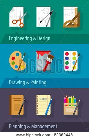 Flat icons engineering design art planning and management. Eps10 vector illustration