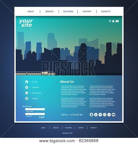 One Page Website Template with City Silhouette in the Header Background Design