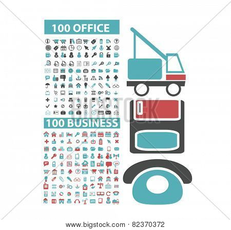 200 office, business, website, internet icons, illustrations, signs set, vector