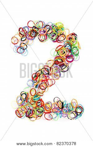 Colorful Elastic Rubber Bands Shape Number Two
