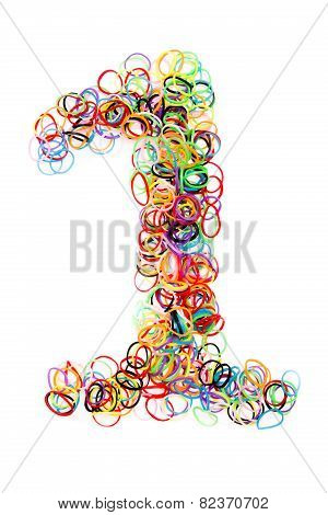 Colorful Elastic Rubber Bands Shape Number One .