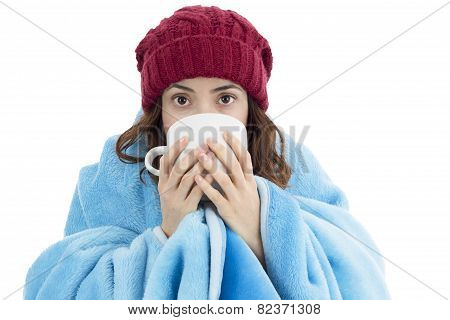 Woman Feeling Cold And Drinking Warm Tea