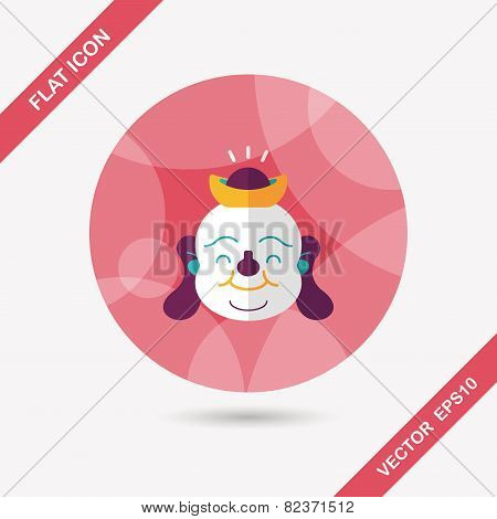 Chinese New Year Flat Icon With Long Shadow,eps10, Maitreya Means