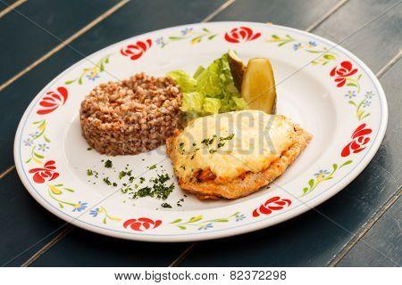 schnitzel with buckwheat