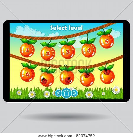 Game level selection fruit ui screen