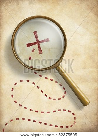 Pirates treasure old map with marked location and loupe. Searching concept