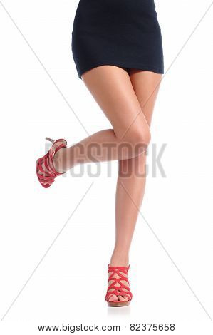Smooth Woman Legs With High Heels Hair Removal Concept