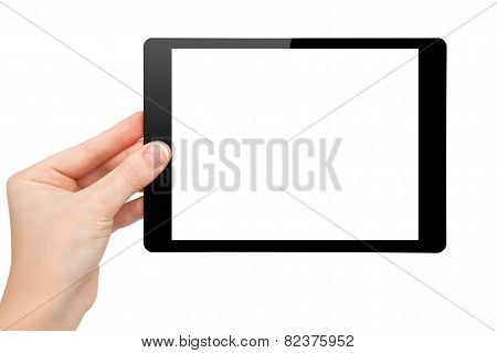 Woman Hand Hold A Mini Tablet With Isolated Screen