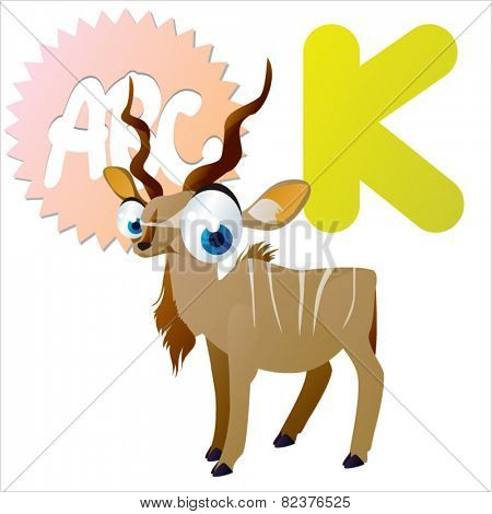 vector isolated cute happy big eyes abc animals: K is for Kudu