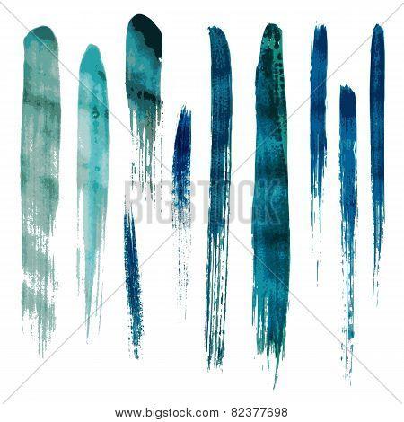 Blue watercolor brush vector strokes