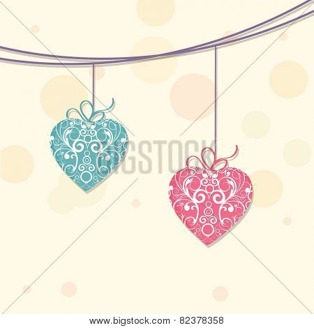 Floral decorated hanging heart for Happy Valentine's Day and other occasion celebration.