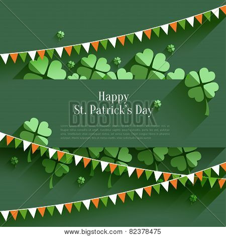 Happy St. Patricks Day - greeting card in flat style, modern design element