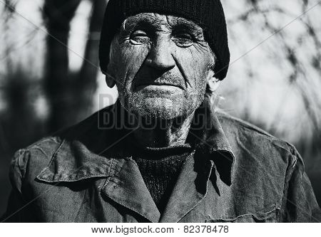 Bw Portrait Of Grandfather In Coat And Black Hat