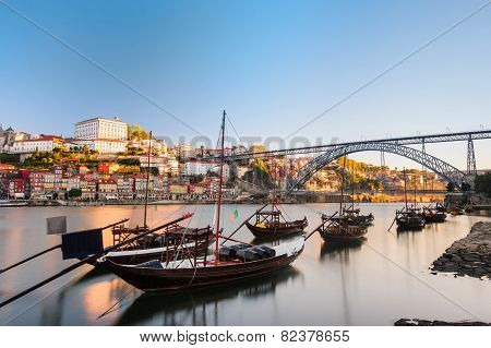 Traditional boats in the Douro River. Porto, Portugal