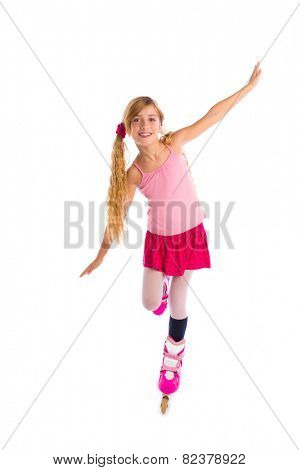 blond pigtails roller skate girl full length dancing balance on white background