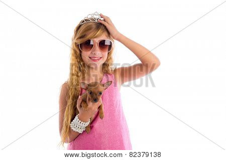 crown princess blond girl with puppy chihuahua dog portrait happy smiling