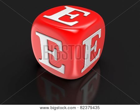 Dice with letter E (clipping path included)