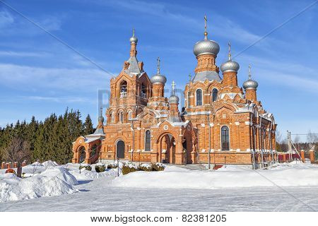 Red Brick Church In Village Darna, Russia