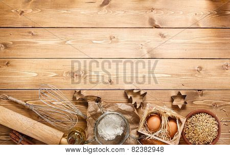Ingredients For Baking On Empty Light Wooden Background With Place  Your Text Or Recipes. Top View.