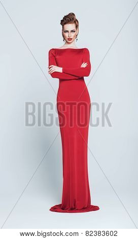Woman In Long Red Dress