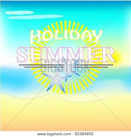 Illustration Of Summer Text With Beach Background
