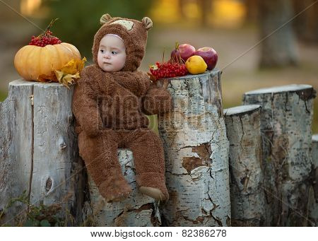 Cute little baby girl in the suit of bear in an autumn park