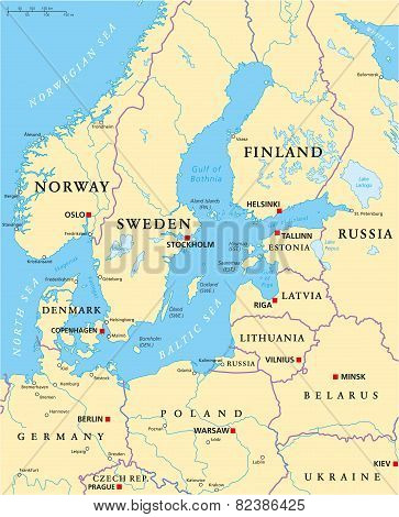 Baltic Sea Area Political Map