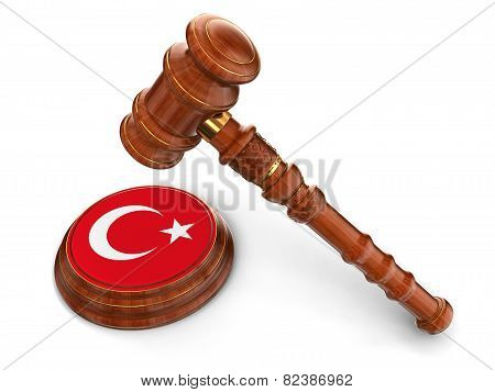 Wooden Mallet and Turkish flag (clipping path included)