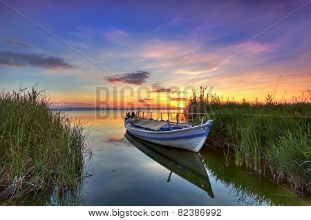 the boat in the landscape of colors