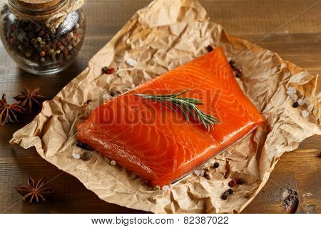 Salmon Steak On Old Paper.